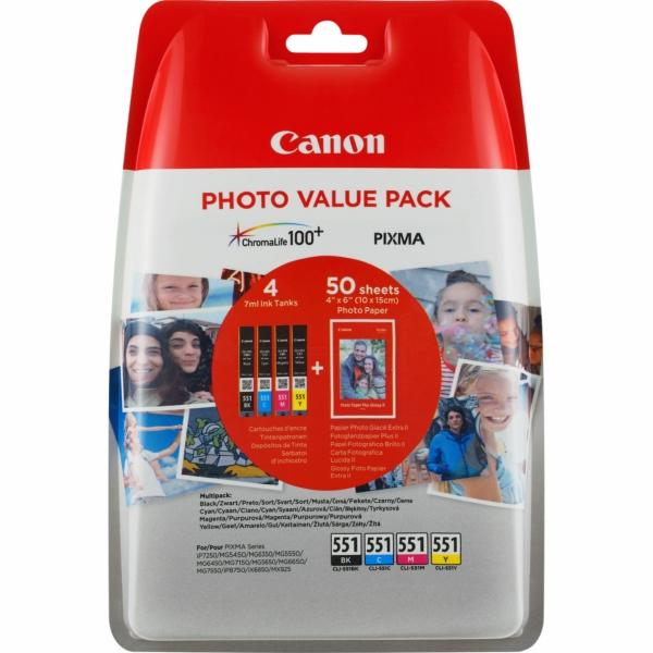 6508B005 / CLI551BKCMY Valuepack Original Tinte f / 6508B005 / 50 Blatt PP201 Fotopapier